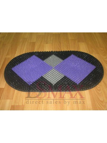 Коврик Травка придверный черный с серо-фиолетовой вставкой