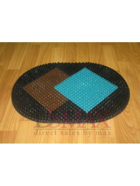 Коврик Травка придверный черный с коричнево-синей вставкой
