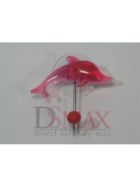 Крючок на присоске с дельфином розовый